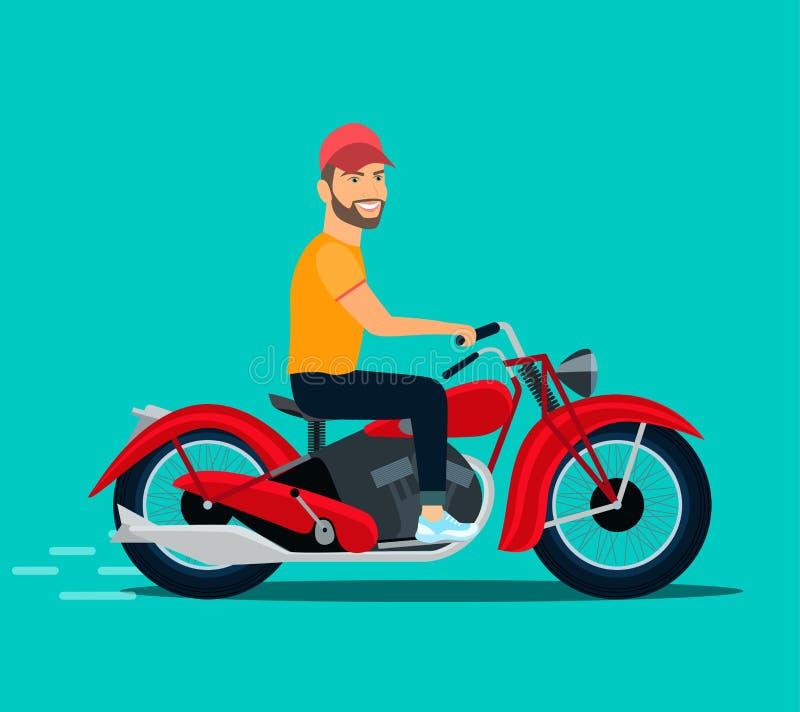 Ung man som rider en motorcykel royaltyfri illustrationer