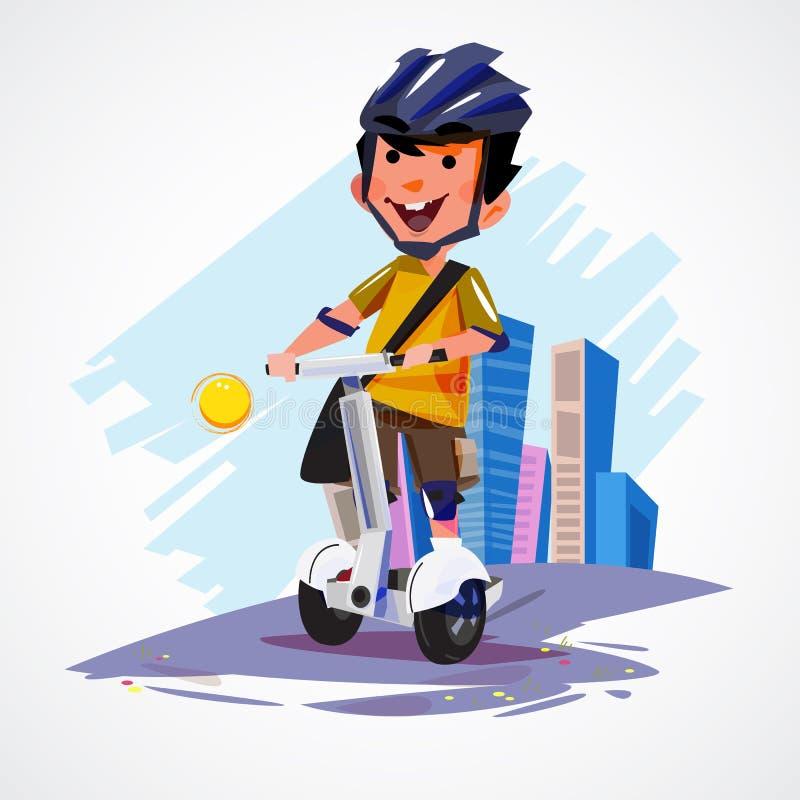 Ung man som rider på det segway medlet för hjul för gyropodeelkraft två royaltyfri illustrationer