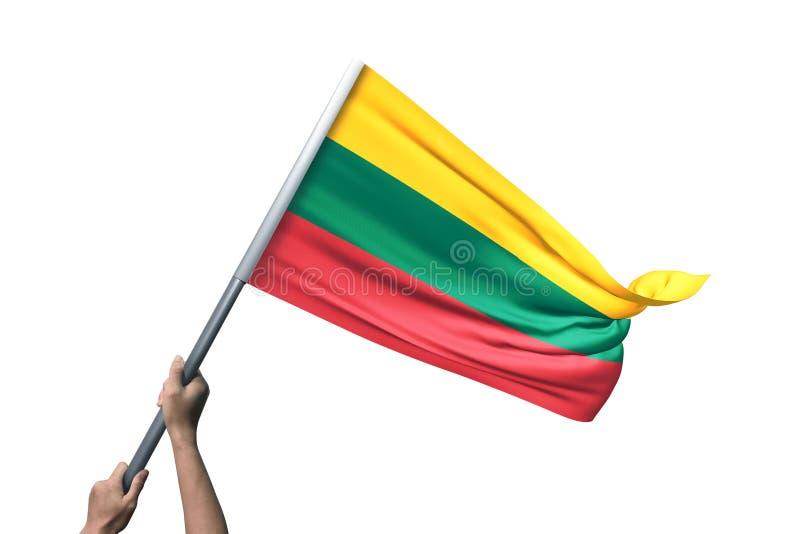 Ung man som rymmer den Litauen flaggan i vit bakgrund arkivfoton