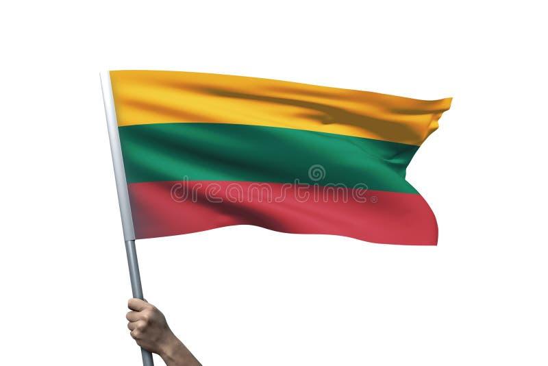 Ung man som rymmer den Litauen flaggan i vit bakgrund royaltyfria bilder