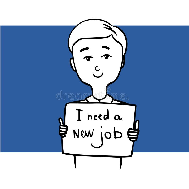 Ung man som söker efter ett nytt jobb klotter royaltyfri illustrationer