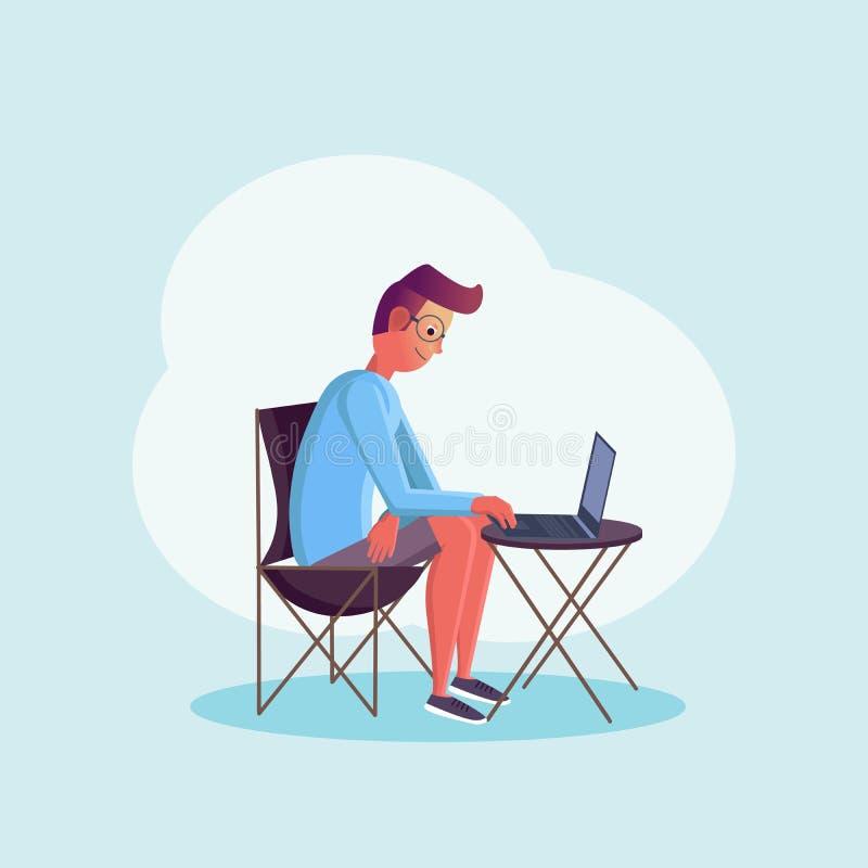 Ung man som sitter på tabellen och arbetar på hans bärbar dator Sänka designstil Frilans- arbetartecken på isolerad bakgrund royaltyfri illustrationer