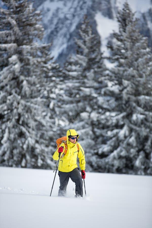 Ung man som snowshoeing i höga berg royaltyfri foto
