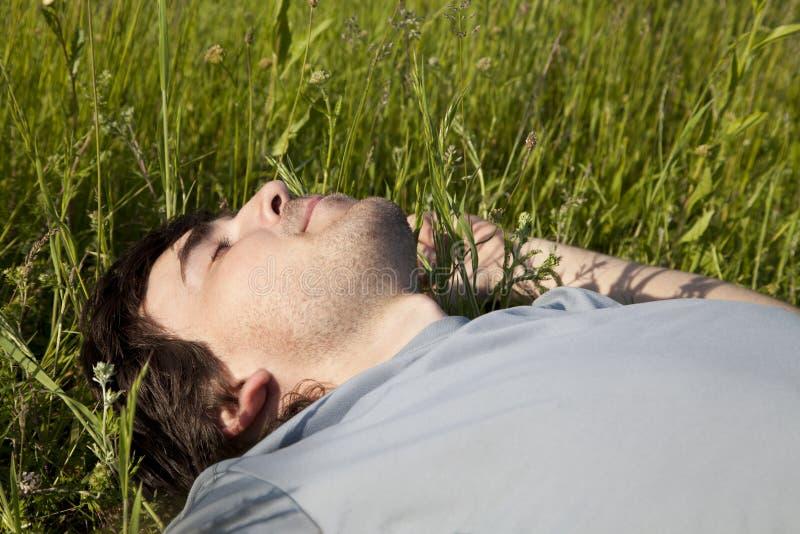 Ung man som sover i en äng royaltyfri bild