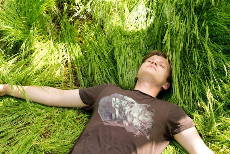Ung man som sover i långt grönt gräs royaltyfria foton