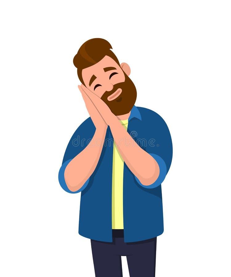 Ung man som sover tröttat drömma och att posera med händer tillsammans medan stängda ögon vektor illustrationer