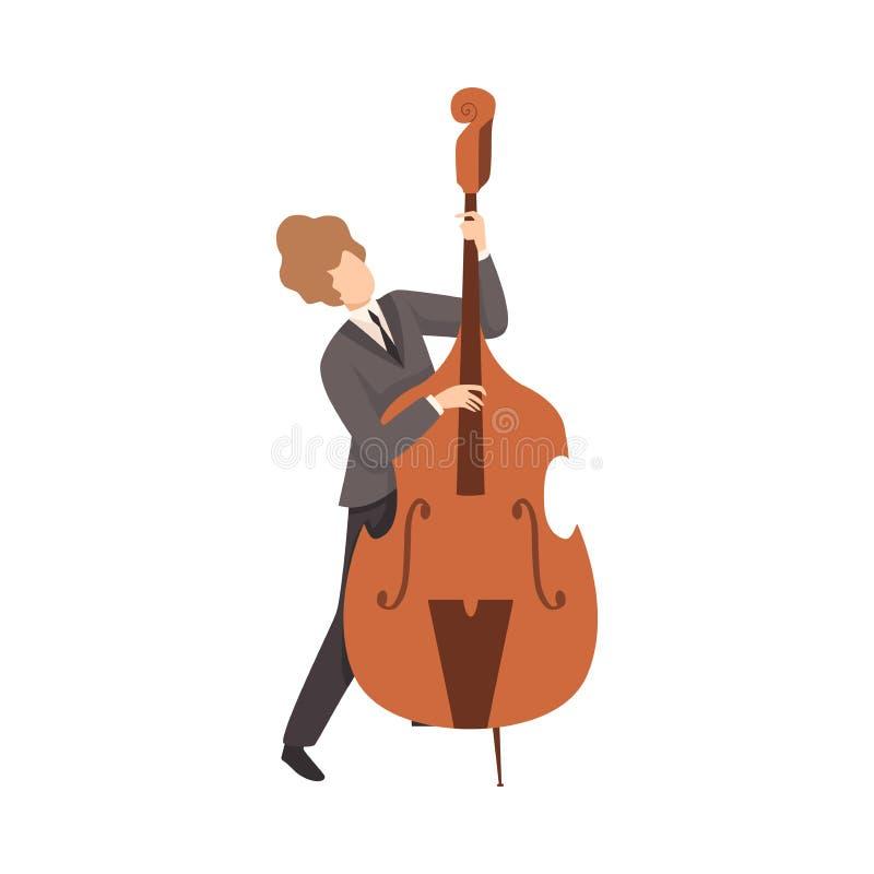 Ung man som spelar basfiolen, man Jazz Musician Character i elegant dräkt med musikinstrumentvektorillustrationen royaltyfri illustrationer