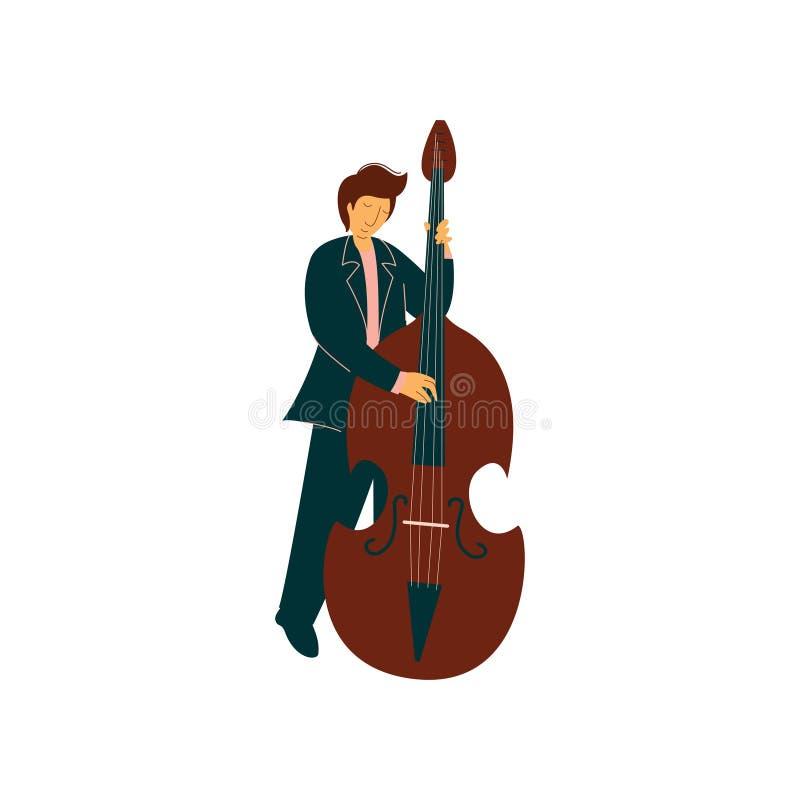 Ung man som spelar basfiolen, man Musicain som spelar klassisk musikvektorillustrationen stock illustrationer