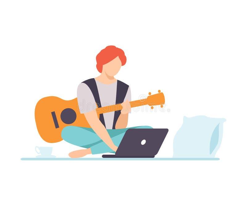 Ung man som spelar gitarren, Guy Learning Guitar Through Internet kurs genom att använda bärbara datorn Comuter, online-utbildnin stock illustrationer