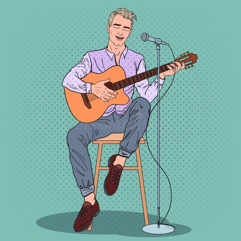 Ung man som spelar på gitarren och sjungande sång Illustration för popkonst royaltyfri illustrationer