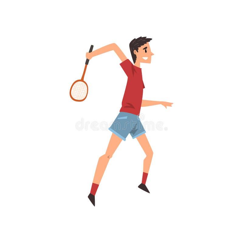 Ung man som spelar tennis eller badminton, aktiv sund illustration för vektor för livsstilbegreppstecknad film på en vit stock illustrationer