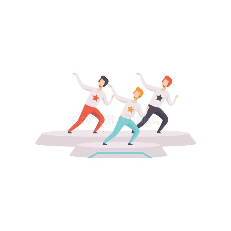 Ung man som tre sjunger med mikrofonen i illustration för TVstudiovektor på en vit bakgrund vektor illustrationer