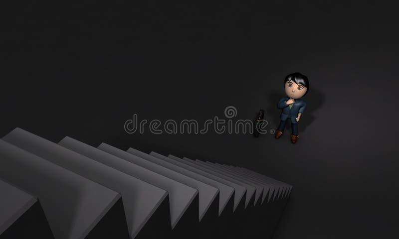 Ung manlig affärsman som upp framme ser av stor lång trappa stock illustrationer