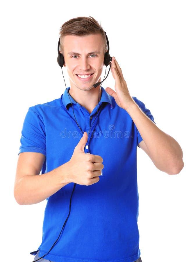 Ung manlig dispatcher för teknisk service royaltyfria bilder