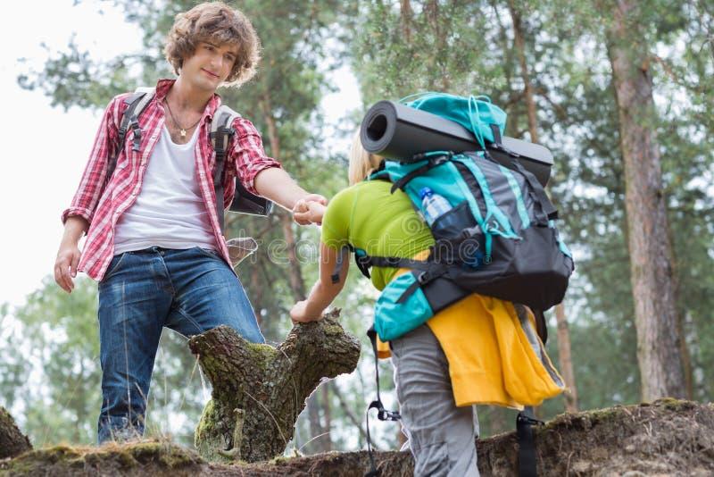 Ung manlig fotvandrareportionkvinna i klättringklippa på skogen arkivfoto