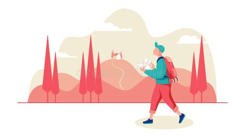Ung manlig handelsresande med en översikt och ryggsäck i bakgrunden ett bergigt landskap med cypressar stock illustrationer