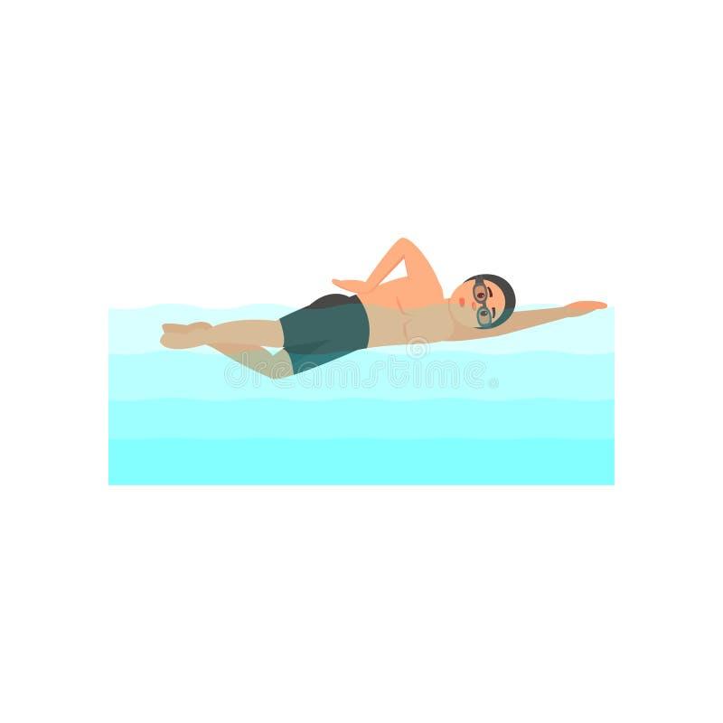Ung manlig idrottsman nensimning i pöl Yrkesmässig simmare Olympisk vattensport Färgrik plan vektordesign vektor illustrationer