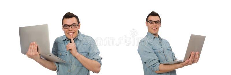 Ung manlig student som isoleras p? vit arkivfoto