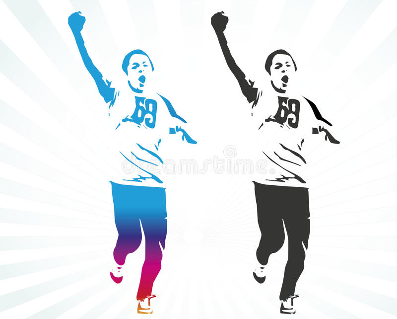 Ung maratonlöpare royaltyfri illustrationer