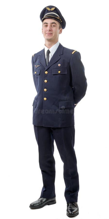 Ung militär fransk pilot- tjänsteman royaltyfria foton