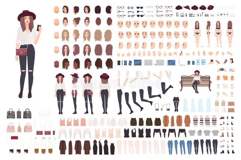 Ung moderiktig kvinna- eller flickakonstruktionssats eller skapelseuppsättning Packe av olika ställingar, frisyrer, framsidor, be royaltyfri illustrationer
