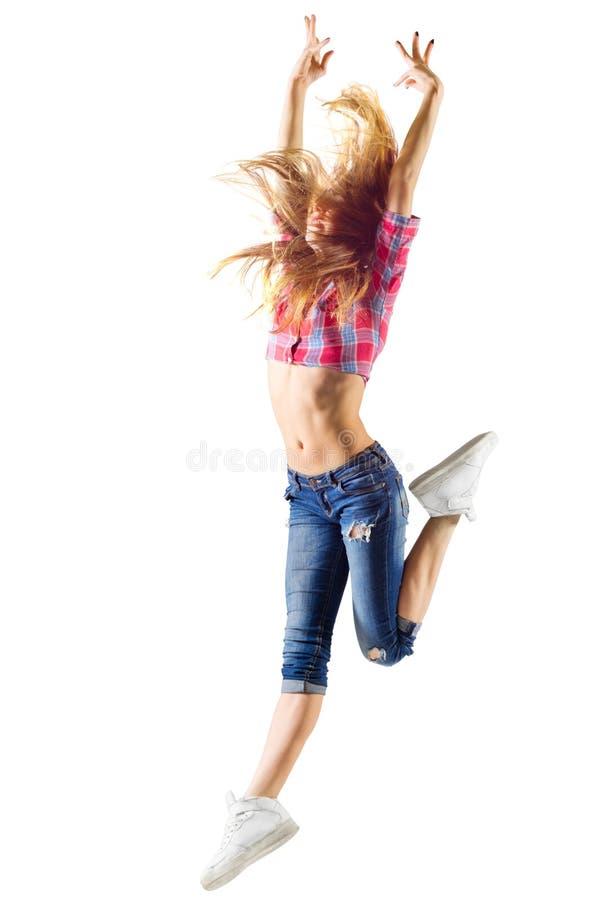 Ung modern dansflicka i jeans royaltyfria bilder