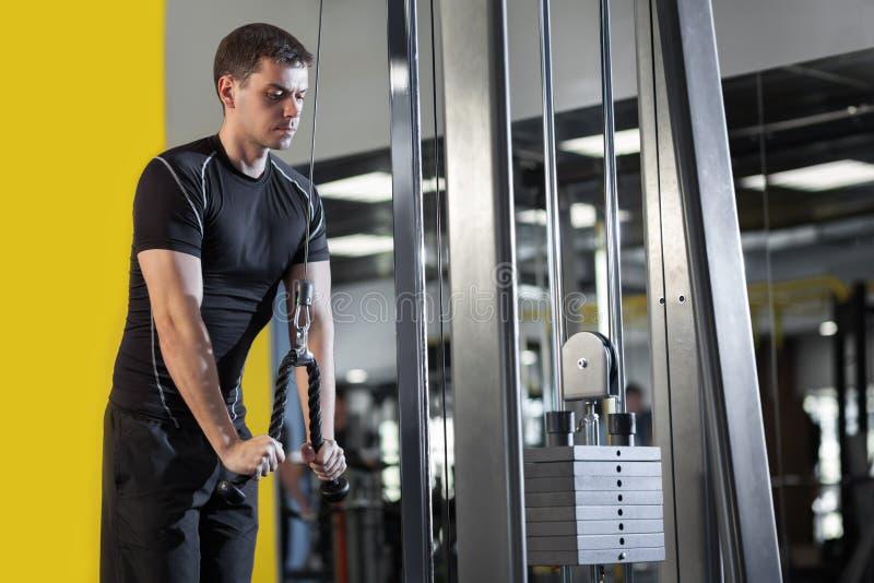 Ung muskulös man som utarbetar i idrottshallen royaltyfria bilder