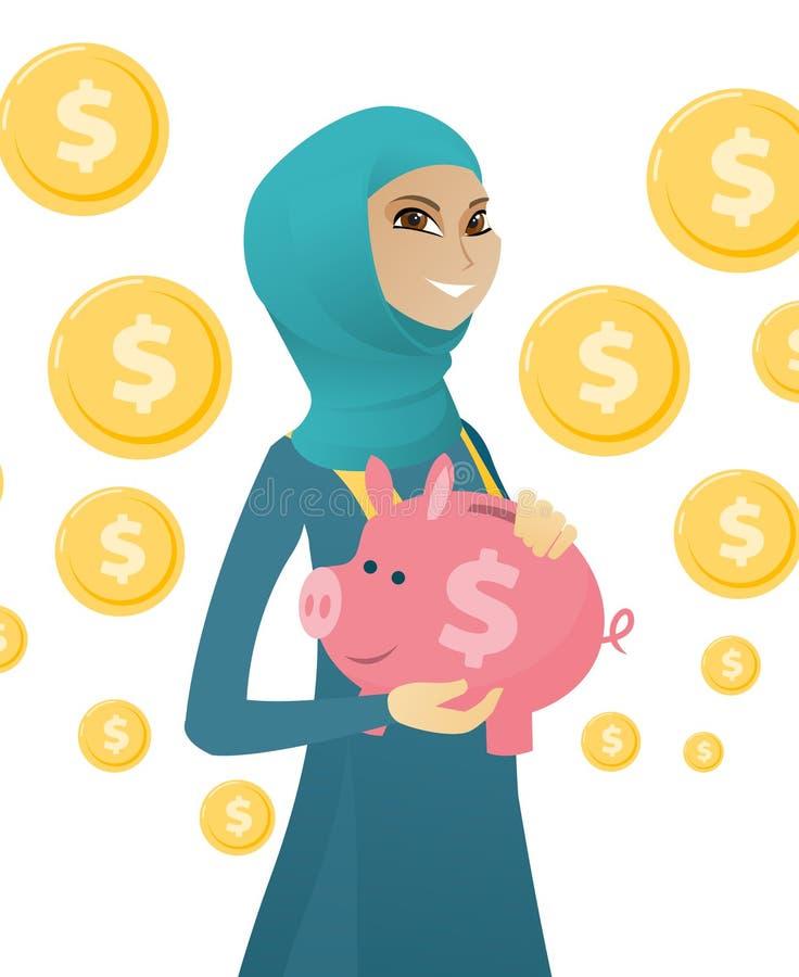 Ung muslimaffärskvinna som rymmer en spargris royaltyfri illustrationer
