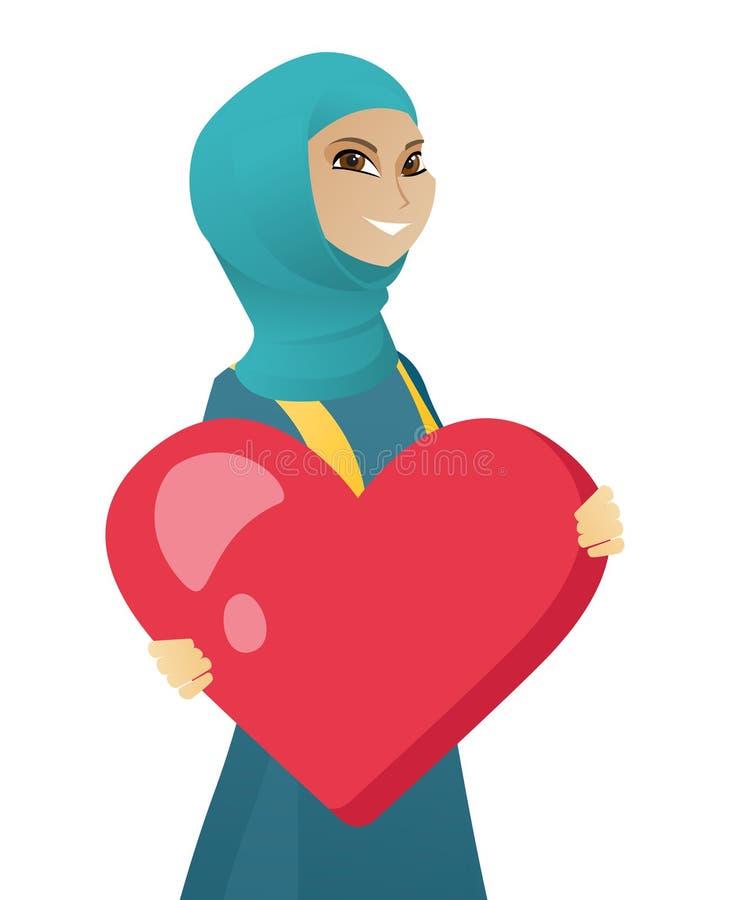 Ung muslimaffärskvinna som rymmer en stor hjärta stock illustrationer