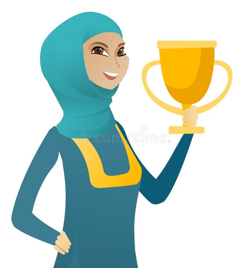 Ung muslimaffärskvinna som rymmer en trofé royaltyfri illustrationer