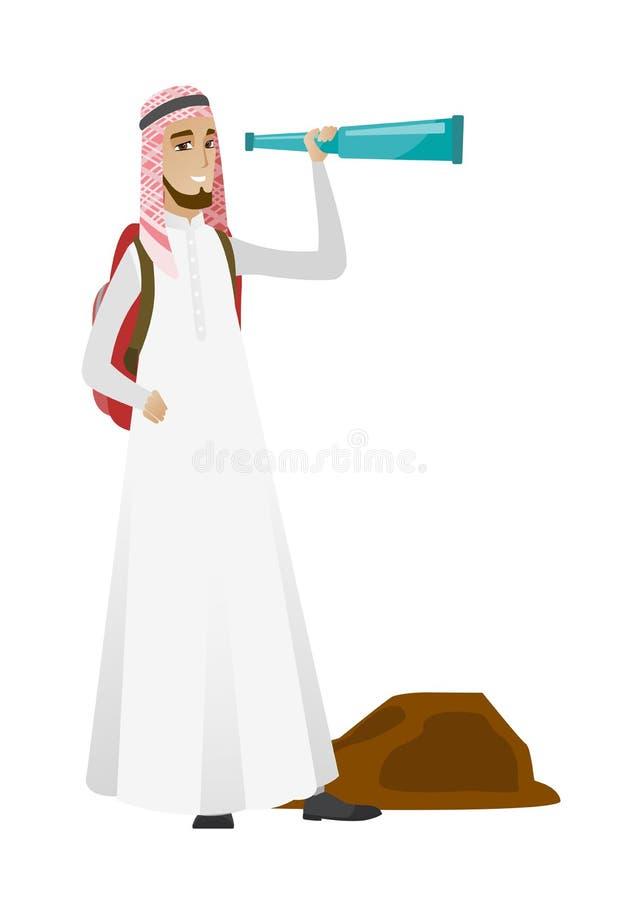 Ung muslimhandelsresande med kikaren royaltyfri illustrationer