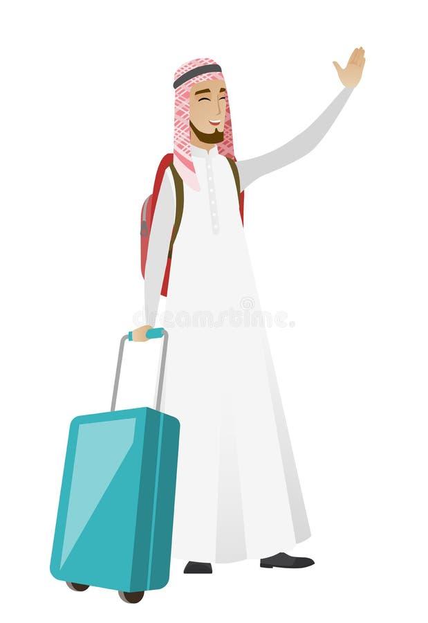 Ung muslimhandelsresande som vinkar hans hand royaltyfri illustrationer