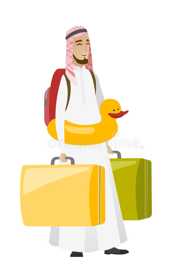 Ung muslimhandelsresandeman i uppblåsbar cirkel royaltyfri illustrationer
