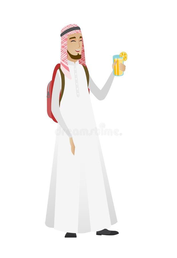 Ung muslimhandelsresandeman som dricker coctailen royaltyfri illustrationer