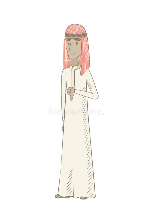 Ung muslimman med tummen ner stock illustrationer