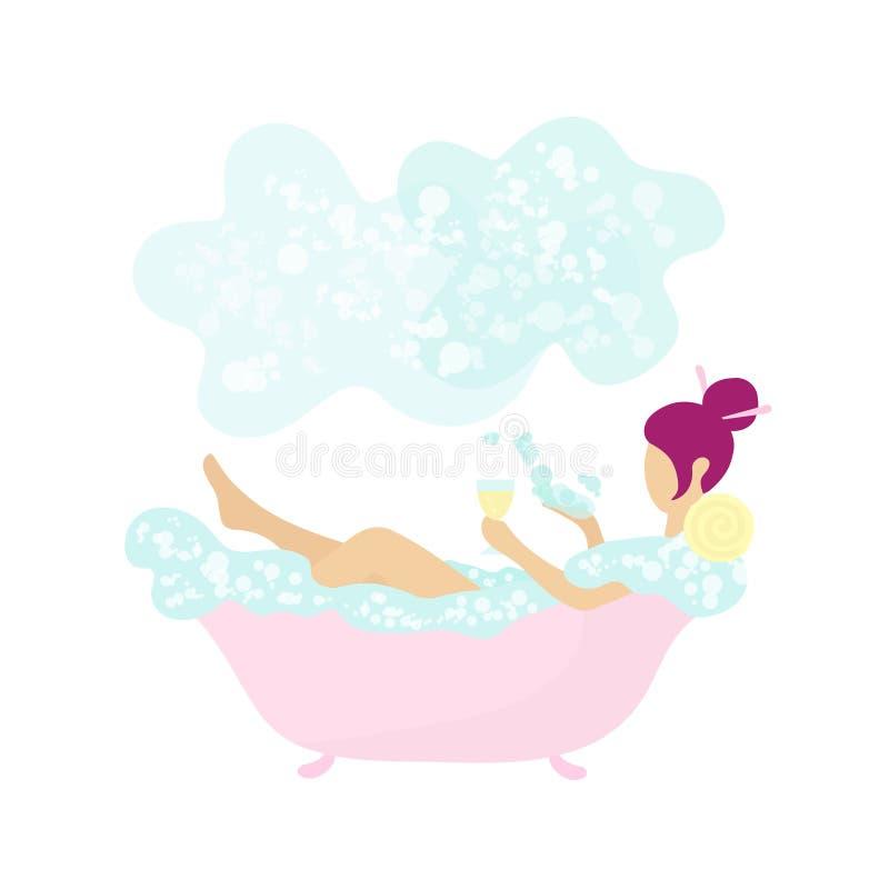 Ung mycket liten kvinna som badar och dricker vin royaltyfri illustrationer
