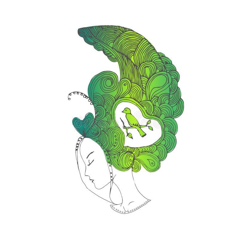 Ung nätt flicka för vektor med gröna klotterhår arkivfoton
