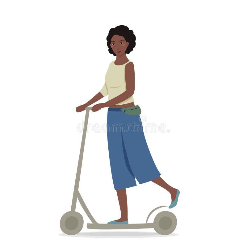 Ung nätt flicka med mörkt hår som rider en sparkcykel missbel?ten illustration f?r pojketecknad film little vektor royaltyfri illustrationer