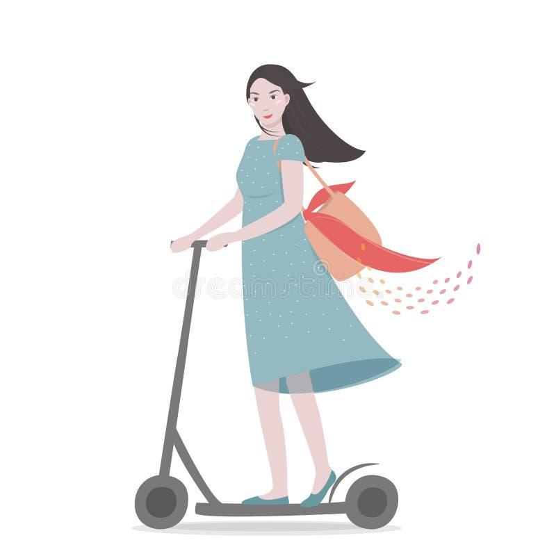Ung nätt flicka som rider en sparkcykel missbel?ten illustration f?r pojketecknad film little vektor royaltyfri illustrationer