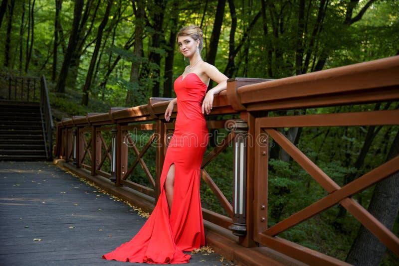 Ung nätt kvinna på träbron royaltyfri foto