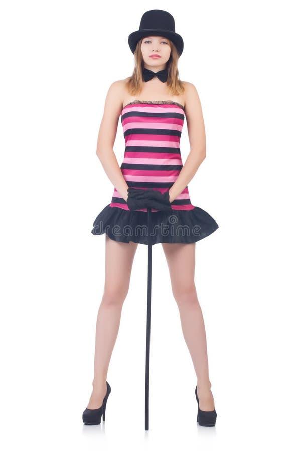 Ung nätt kvinnadans med att gå den isolerade pinnen arkivfoton