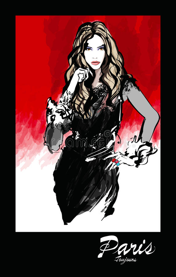 Ung nätt modemodell över röd bakgrund royaltyfri illustrationer