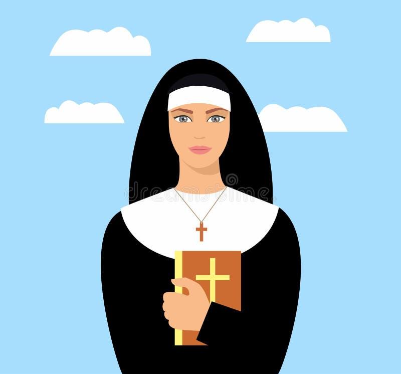 Ung nunna med en bibel i hand Tecknad filmnunna royaltyfri illustrationer