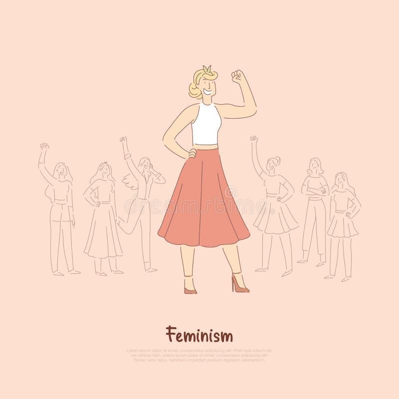 Ung oberoende dam i kjol med den lyftta handen, flickamakt, jämställdhet, rättfrihet, social protest, feminism vektor illustrationer