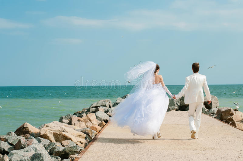Ung och härlig brud och brudgum på stranden arkivbilder