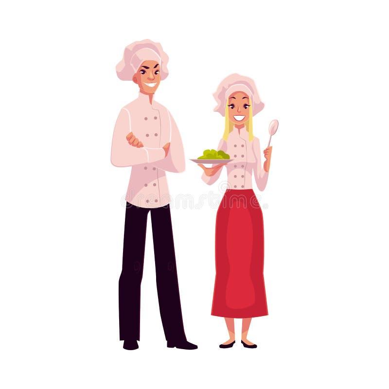 Ung och stilig manlig kock i den vita likformign stock illustrationer