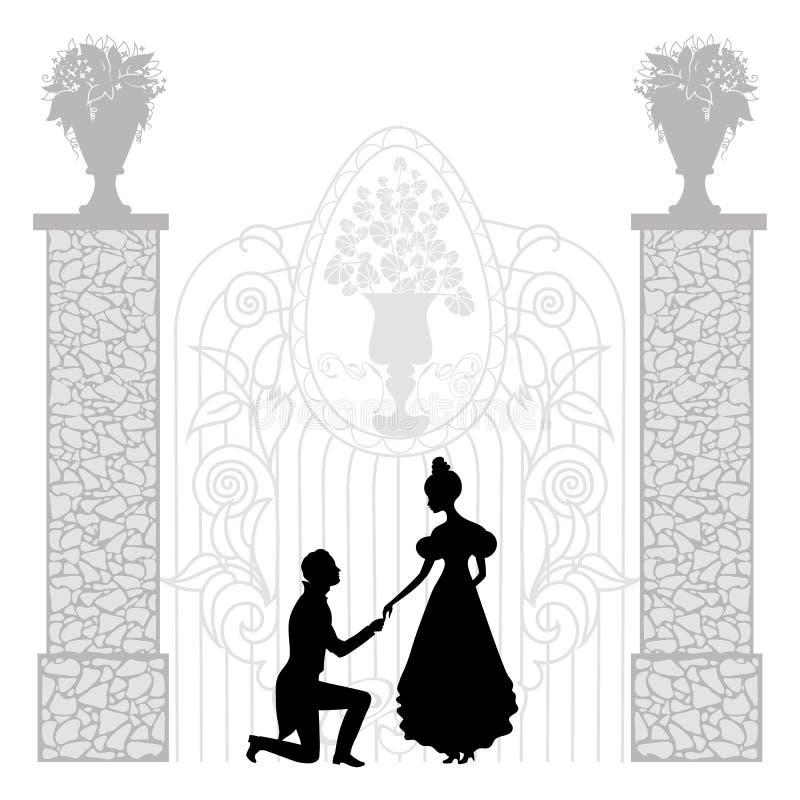 Ung parsilhouette stock illustrationer