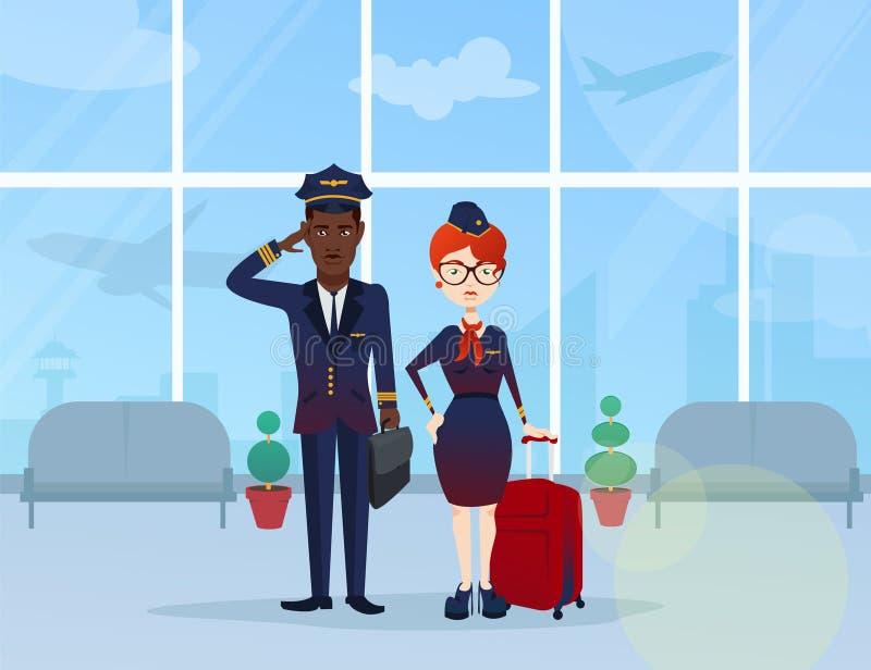 Ung pilot och flygvärdinna royaltyfri illustrationer
