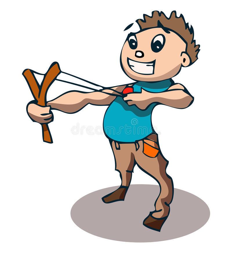Ung pojke med katapulten, vektorillustration stock illustrationer