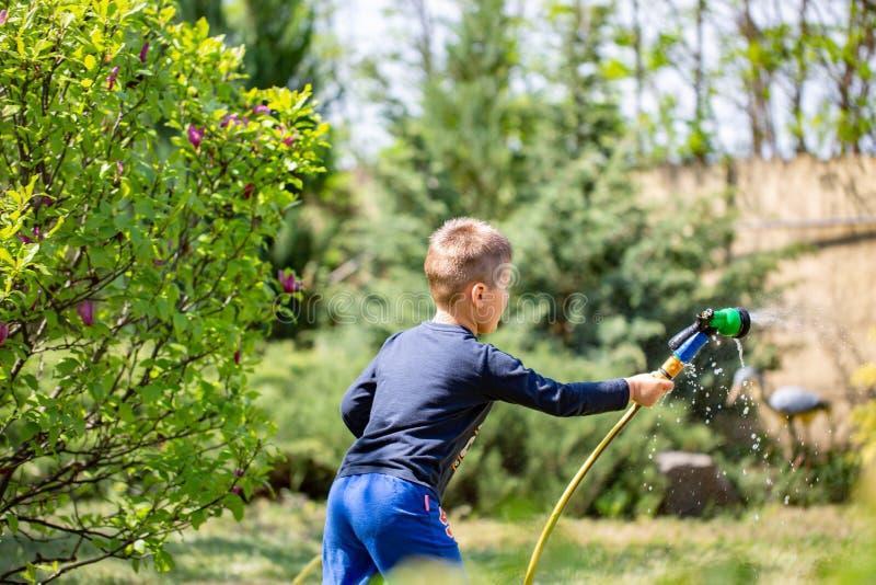 Ung pojke som bevattnar trädgården med den rubber hosepipen fotografering för bildbyråer